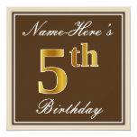 [ Thumbnail: Elegant, Brown, Faux Gold 5th Birthday + Name Invitation ]