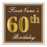 [ Thumbnail: Elegant, Brown, Faux Gold 60th Birthday + Name Invitation ]