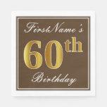 [ Thumbnail: Elegant Brown, Faux Gold 60th Birthday + Name Paper Napkin ]