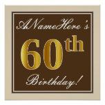 [ Thumbnail: Elegant, Brown, Faux Gold 60th Birthday + Name Poster ]