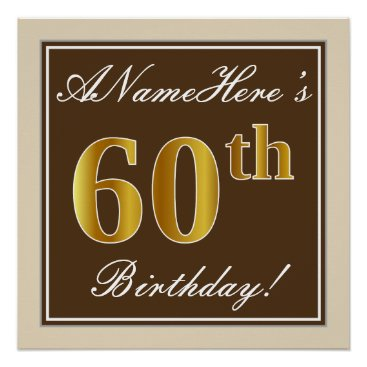 Art Themed Elegant, Brown, Faux Gold 60th Birthday   Name Poster