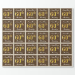 [ Thumbnail: Elegant, Brown, Faux Gold 60th Birthday + Name Wrapping Paper ]