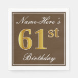 [ Thumbnail: Elegant Brown, Faux Gold 61st Birthday + Name Napkin ]