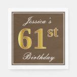 [ Thumbnail: Elegant Brown, Faux Gold 61st Birthday + Name Napkin ]