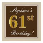 [ Thumbnail: Elegant, Brown, Faux Gold 61st Birthday + Name Poster ]