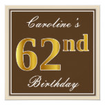 [ Thumbnail: Elegant, Brown, Faux Gold 62nd Birthday + Name Invitation ]