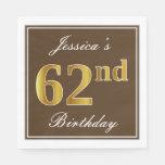 [ Thumbnail: Elegant Brown, Faux Gold 62nd Birthday + Name Napkin ]