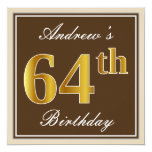 [ Thumbnail: Elegant, Brown, Faux Gold 64th Birthday + Name Invitation ]
