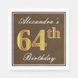 [ Thumbnail: Elegant Brown, Faux Gold 64th Birthday + Name Napkin ]