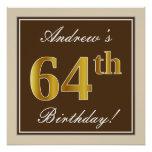 [ Thumbnail: Elegant, Brown, Faux Gold 64th Birthday + Name Poster ]
