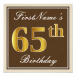 [ Thumbnail: Elegant, Brown, Faux Gold 65th Birthday + Name Invitation ]