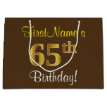 [ Thumbnail: Elegant, Brown, Faux Gold 65th Birthday + Name Gift Bag ]