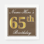[ Thumbnail: Elegant Brown, Faux Gold 65th Birthday + Name Napkin ]