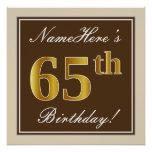 [ Thumbnail: Elegant, Brown, Faux Gold 65th Birthday + Name Poster ]
