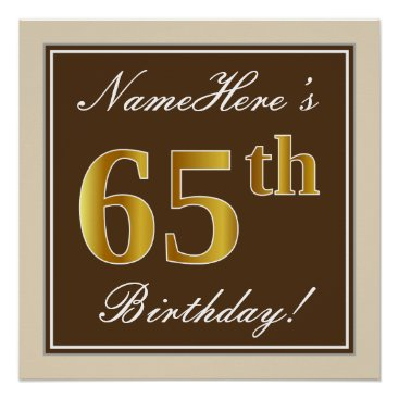 Art Themed Elegant, Brown, Faux Gold 65th Birthday   Name Poster