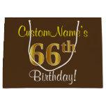 [ Thumbnail: Elegant, Brown, Faux Gold 66th Birthday + Name Gift Bag ]
