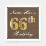 [ Thumbnail: Elegant Brown, Faux Gold 66th Birthday + Name Paper Napkin ]