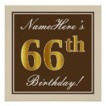 [ Thumbnail: Elegant, Brown, Faux Gold 66th Birthday + Name Poster ]
