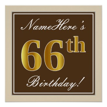 Art Themed Elegant, Brown, Faux Gold 66th Birthday   Name Poster