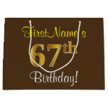 [ Thumbnail: Elegant, Brown, Faux Gold 67th Birthday + Name Gift Bag ]