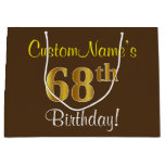 [ Thumbnail: Elegant, Brown, Faux Gold 68th Birthday + Name Gift Bag ]