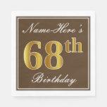 [ Thumbnail: Elegant Brown, Faux Gold 68th Birthday + Name Paper Napkin ]