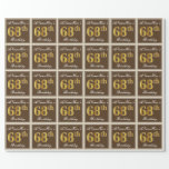 [ Thumbnail: Elegant, Brown, Faux Gold 68th Birthday + Name Wrapping Paper ]
