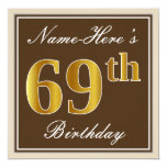 [ Thumbnail: Elegant, Brown, Faux Gold 69th Birthday + Name Invitation ]