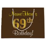 [ Thumbnail: Elegant, Brown, Faux Gold 69th Birthday + Name Gift Bag ]