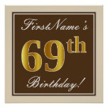 [ Thumbnail: Elegant, Brown, Faux Gold 69th Birthday + Name Poster ]