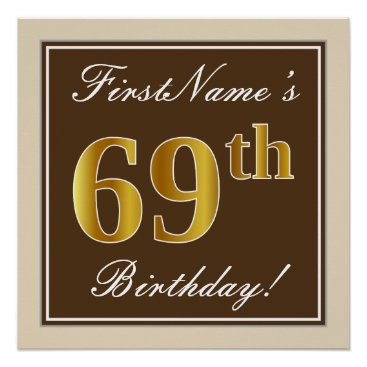 Art Themed Elegant, Brown, Faux Gold 69th Birthday   Name Poster
