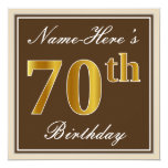 [ Thumbnail: Elegant, Brown, Faux Gold 70th Birthday + Name Invitation ]