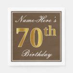 [ Thumbnail: Elegant Brown, Faux Gold 70th Birthday + Name Paper Napkin ]