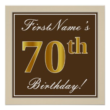Art Themed Elegant, Brown, Faux Gold 70th Birthday   Name Poster