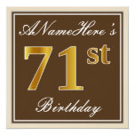 [ Thumbnail: Elegant, Brown, Faux Gold 71st Birthday + Name Invitation ]