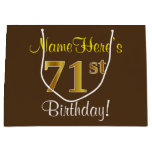 [ Thumbnail: Elegant, Brown, Faux Gold 71st Birthday + Name Gift Bag ]