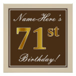 [ Thumbnail: Elegant, Brown, Faux Gold 71st Birthday + Name Poster ]