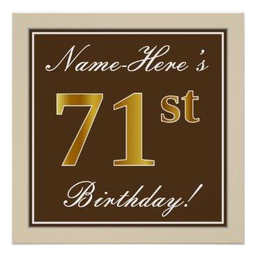 Art Themed Elegant, Brown, Faux Gold 71st Birthday   Name Poster