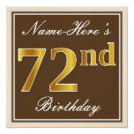 [ Thumbnail: Elegant, Brown, Faux Gold 72nd Birthday + Name Invitation ]