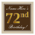[ Thumbnail: Elegant, Brown, Faux Gold 72nd Birthday + Name Poster ]