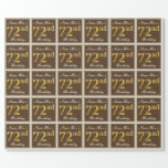 [ Thumbnail: Elegant, Brown, Faux Gold 72nd Birthday + Name Wrapping Paper ]