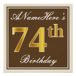 [ Thumbnail: Elegant, Brown, Faux Gold 74th Birthday + Name Invitation ]