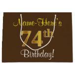 [ Thumbnail: Elegant, Brown, Faux Gold 74th Birthday + Name Gift Bag ]