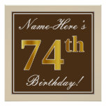 [ Thumbnail: Elegant, Brown, Faux Gold 74th Birthday + Name Poster ]