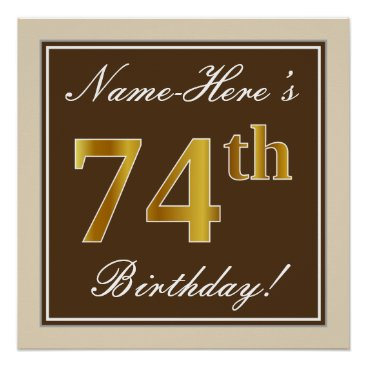 Art Themed Elegant, Brown, Faux Gold 74th Birthday   Name Poster