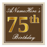 [ Thumbnail: Elegant, Brown, Faux Gold 75th Birthday + Name Invitation ]