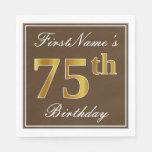 [ Thumbnail: Elegant Brown, Faux Gold 75th Birthday + Name Paper Napkin ]