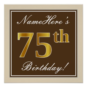 Art Themed Elegant, Brown, Faux Gold 75th Birthday   Name Poster