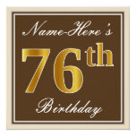 [ Thumbnail: Elegant, Brown, Faux Gold 76th Birthday + Name Invitation ]