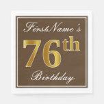 [ Thumbnail: Elegant Brown, Faux Gold 76th Birthday + Name Napkin ]